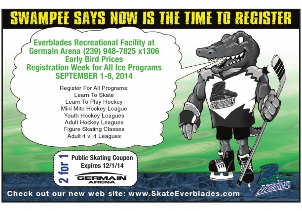 REGISTRATION FOR GERMAIN ARENA'S ICE SKATING PROGRAM IS SEPTEMBER 1ST TO 8TH. TAKE ADVANTAGE OF EARLY BIRD PRICES.